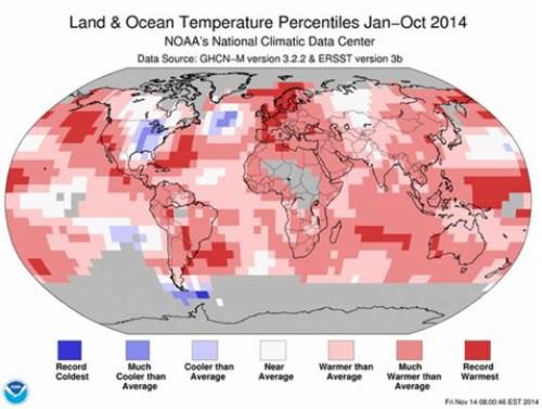 Carte du réchauffement
