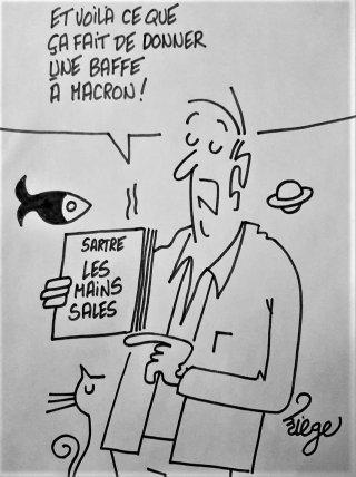 Baffe à Macron