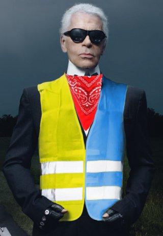 Collection hiver 2019: gilets jaunes et bleus, foulard rouge