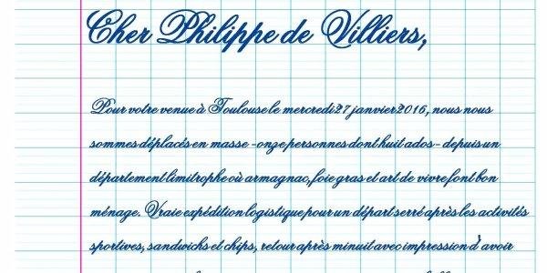 Cher Philippe de Villiers,